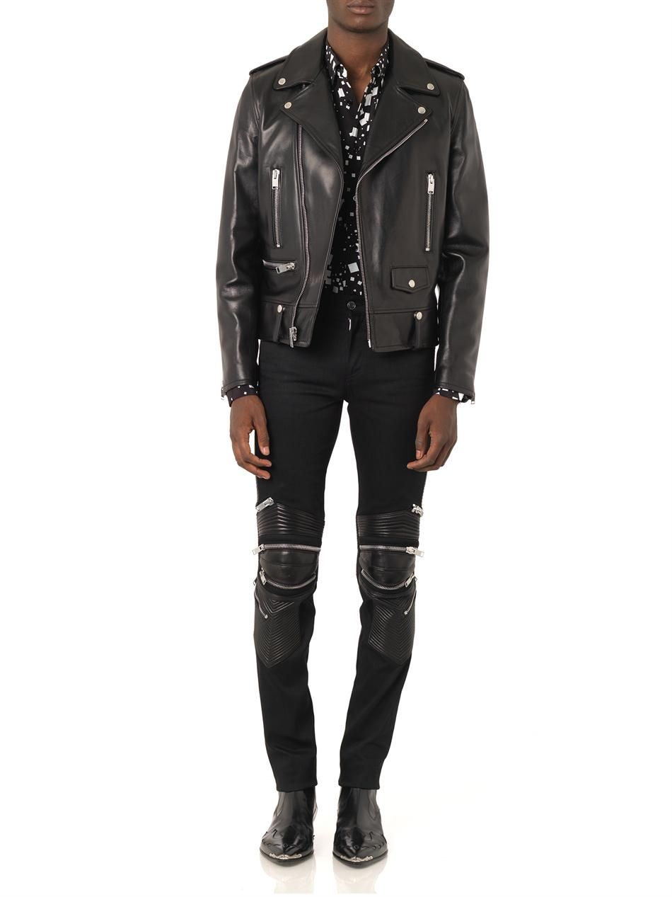 55a37d777a2 SAINT LAURENT Leather and denim skinny biker jeans | Don't tell me ...