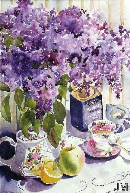 Tea And Lilac Peinture Fleurs Aquarelle Fleurs Art De La Peinture
