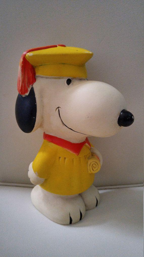 Vintage Snoopy Graduation Scholar Coin Bank Piggy Bank 1960 Mid Century Vintage Savings School Snoopy Vintage Plush Etsy Finds