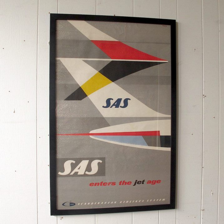 Rare Iconic Framed Original Vintage SAS Poster c1959 by Staffan Wirén