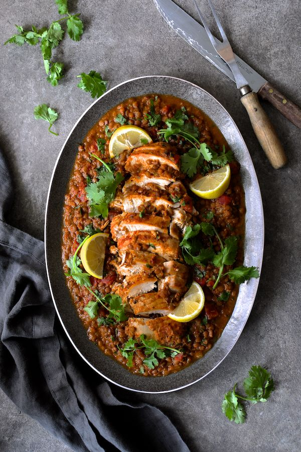 Slow Cooker Moroccan Turkey and Lentils on platter, top ...