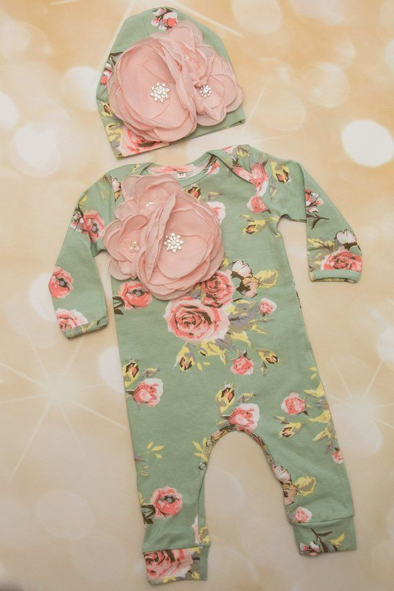 bd167cf54 Floral Infant Layette Cotton Baby Romper with Large Flower On The ...