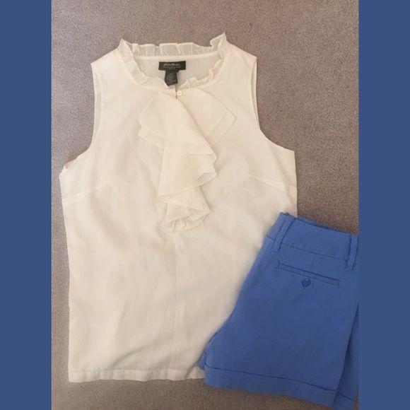 Eddie Bauer top Sleeveless top in cream. Size small. 60% cotton, 40% silk Eddie Bauer Tops Tank Tops