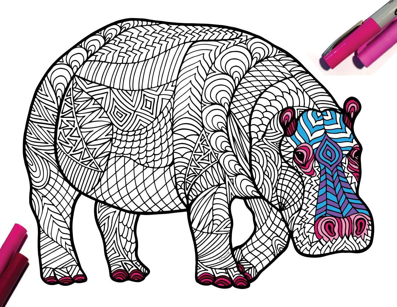 Hippopotamus Endangered Animal PDF Zentangle Coloring