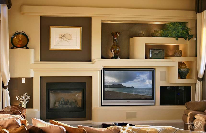 Custom drywall entertainment centers guesswork with a 3d design of your home entertainment for Home entertainment center design ideas