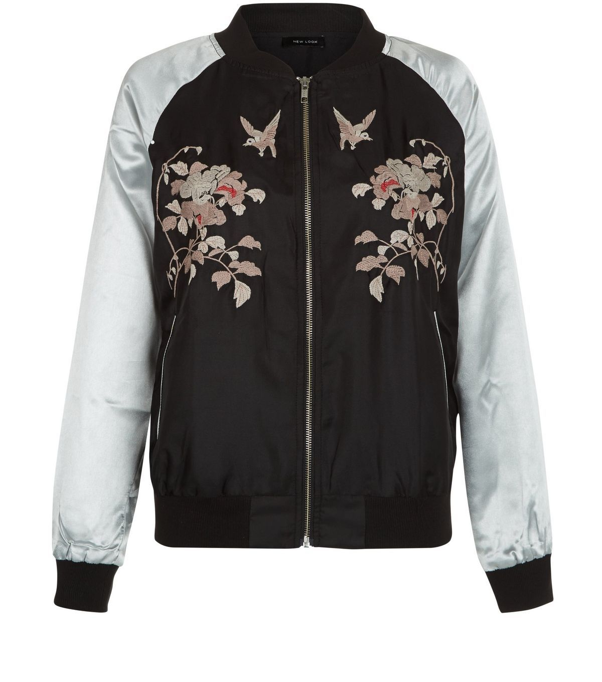 Black Embroidered Contrast Sleeve Bomber Jacket | New Look