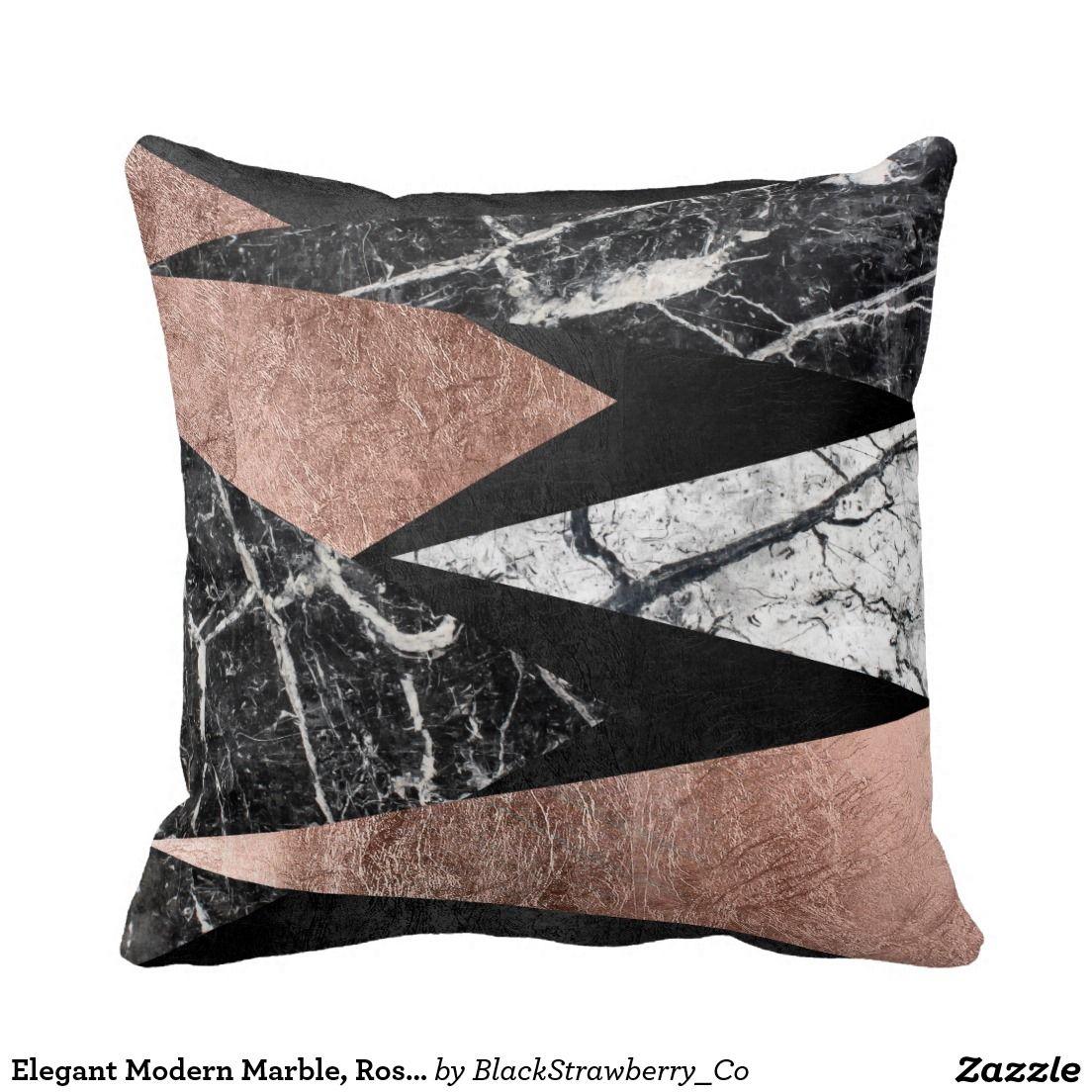 Elegant modern marble rose gold u black triangle pillows home