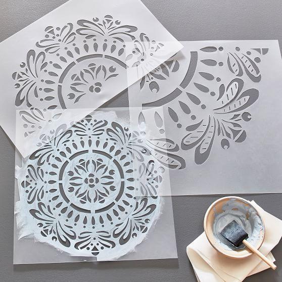 Diy Mandala Stencil Set Of 3 In 2020 Mandala Stencils