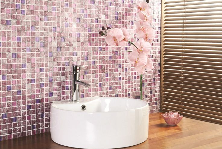 31 Awesome Multi Color Tiled Bathroom Designs With Pink Mosaic Tiles Walls And Wooden Floor White