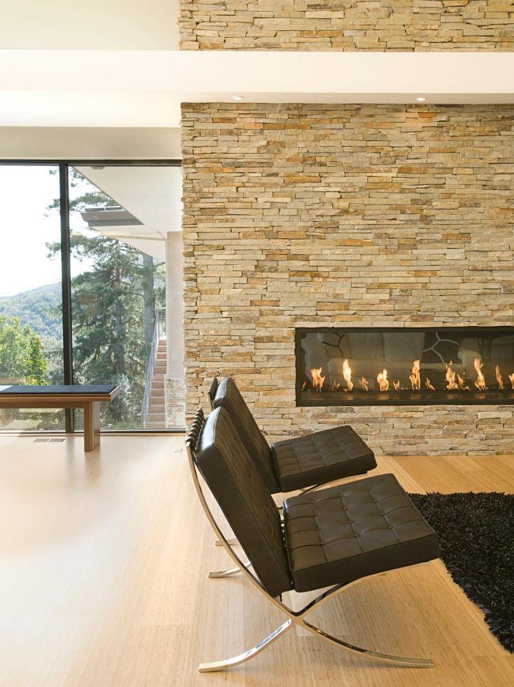 Steinwand im Wohnzimmer \u2013 30 Inspirationen von Klimex - steintapete beige wohnzimmer