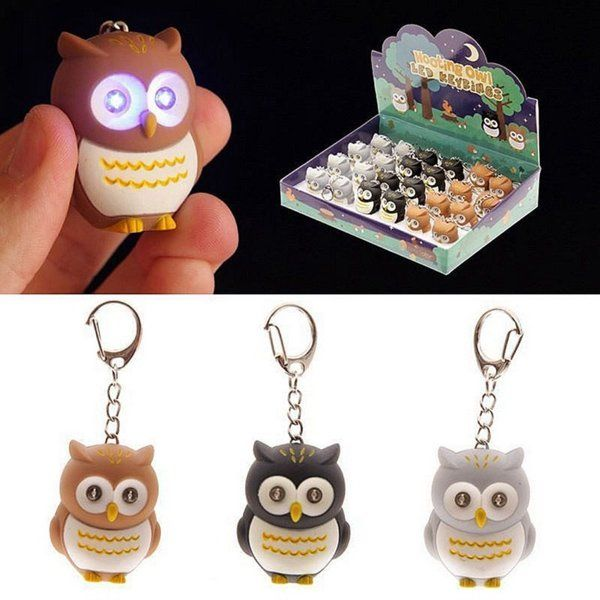 Novelty Cute Hooking LED Owl Light Keyring Keychain Sound Flashlight