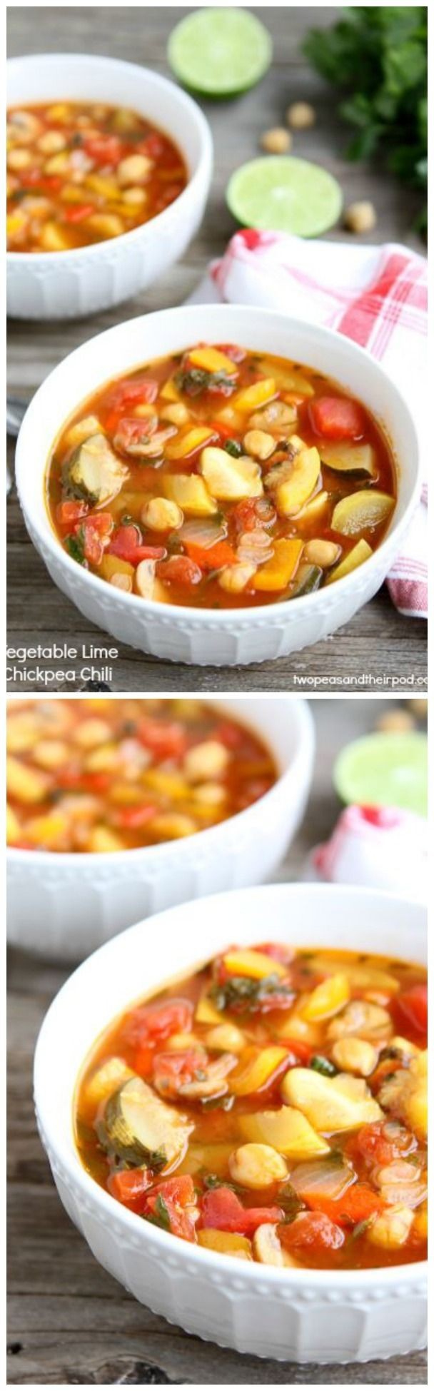 Vegetable Lime Chickpea Chili Recipe on twopeasandtheirpo... Love this healthy and easy chili!