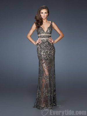 Wholesale V-neck Floor-length Trumpet / Mermaid Sequined Lace Black Evening Dresses