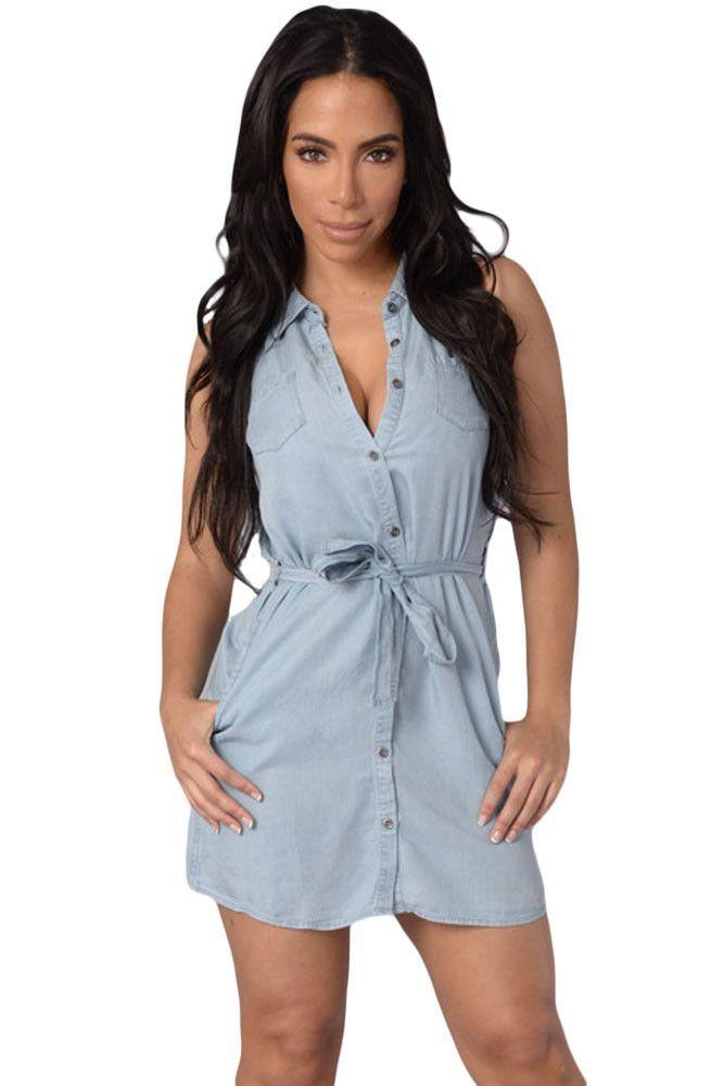 4ac00d4730 Light Wash Belted Denim Shirt Dress LAVELIQ