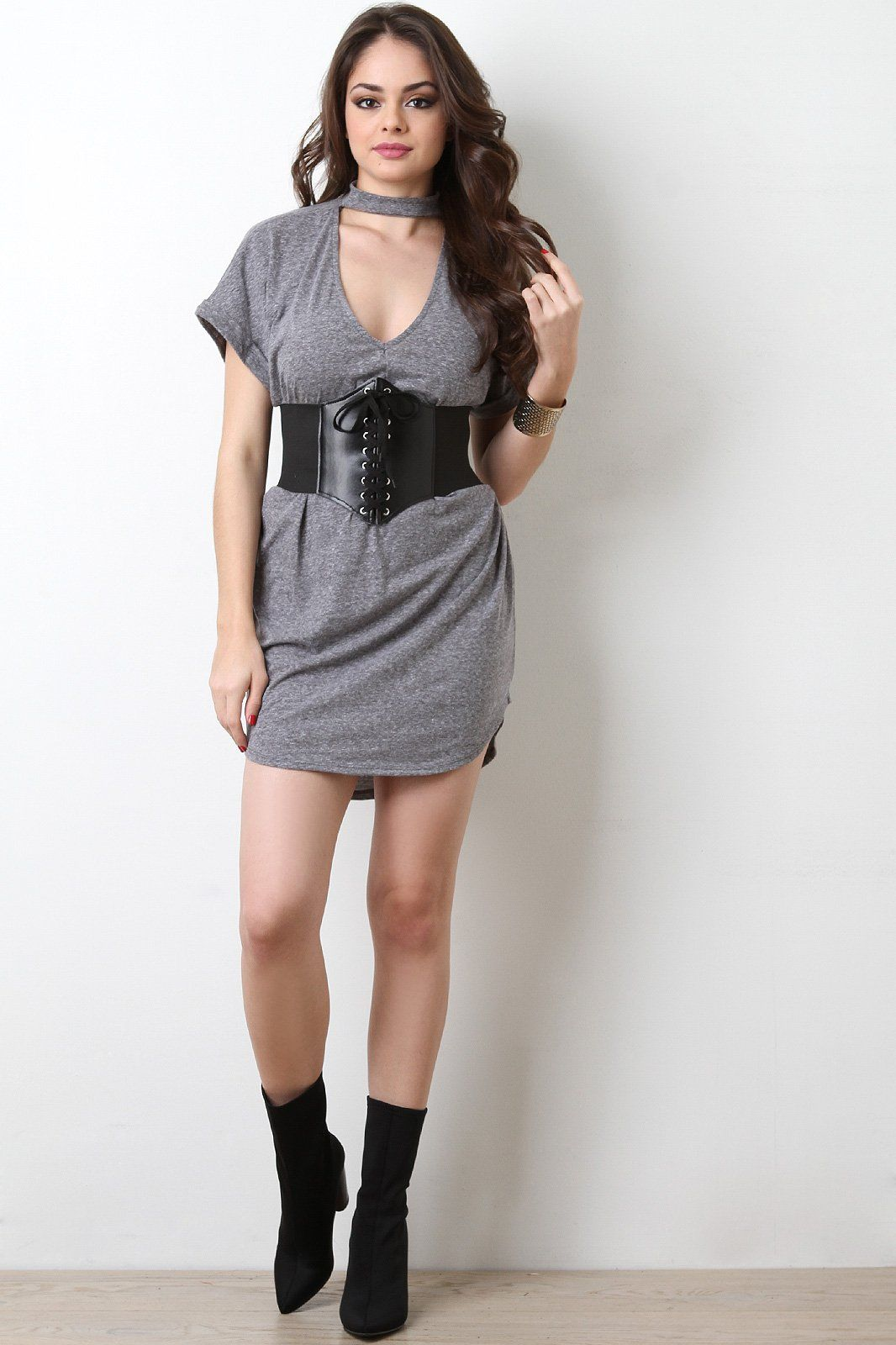 f4a67f5799 Heather Knit V-Cutout T-Shirt Dress   Whatever in 2019   Dresses ...