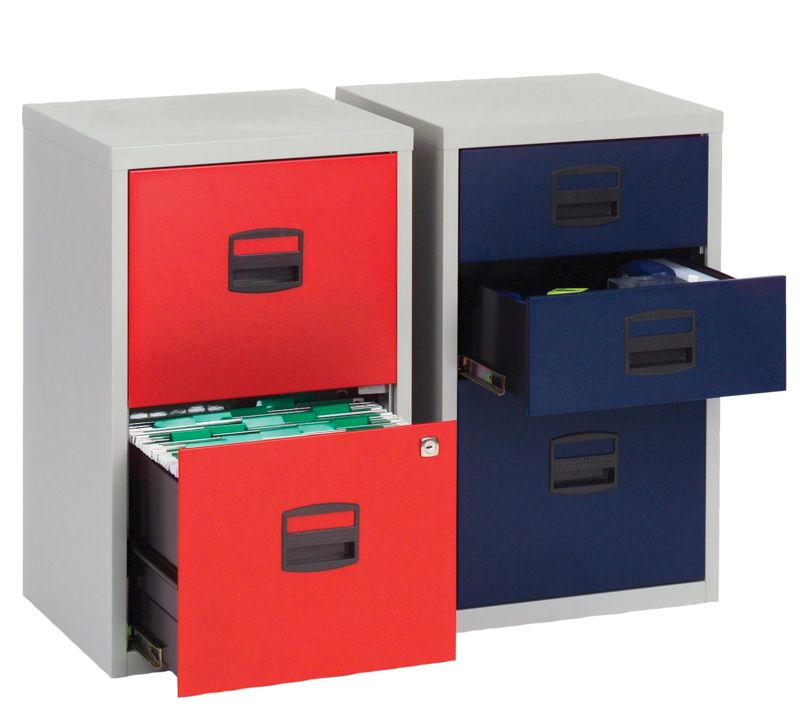 Merveilleux Bisley 3 Draw SOHO Filing Cabinet   Red U0026 Grey   London Office Interiors