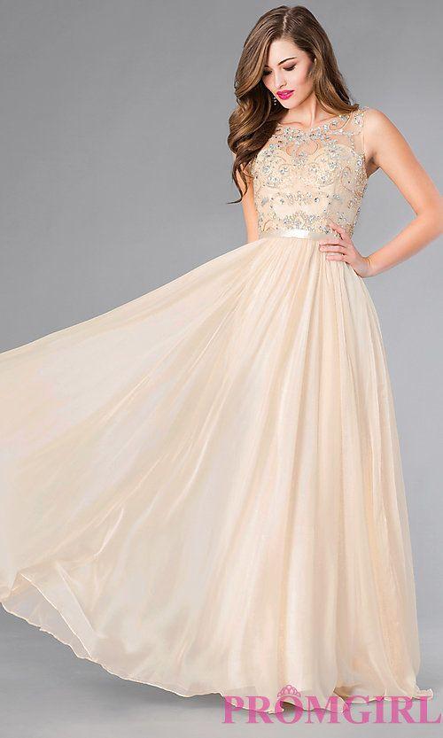 Image of beaded-bodice champagne chiffon long prom dress. Style: DQ ...