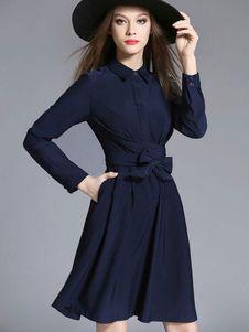 Oscuro Vestido Poliéster Con De Escote Azul Marino Plisado Color xUUzrOYq
