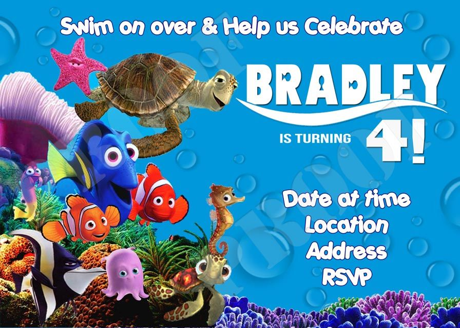 Finding Nemo Birthday Party Invitation and Thank You Card – Finding Nemo Birthday Cards