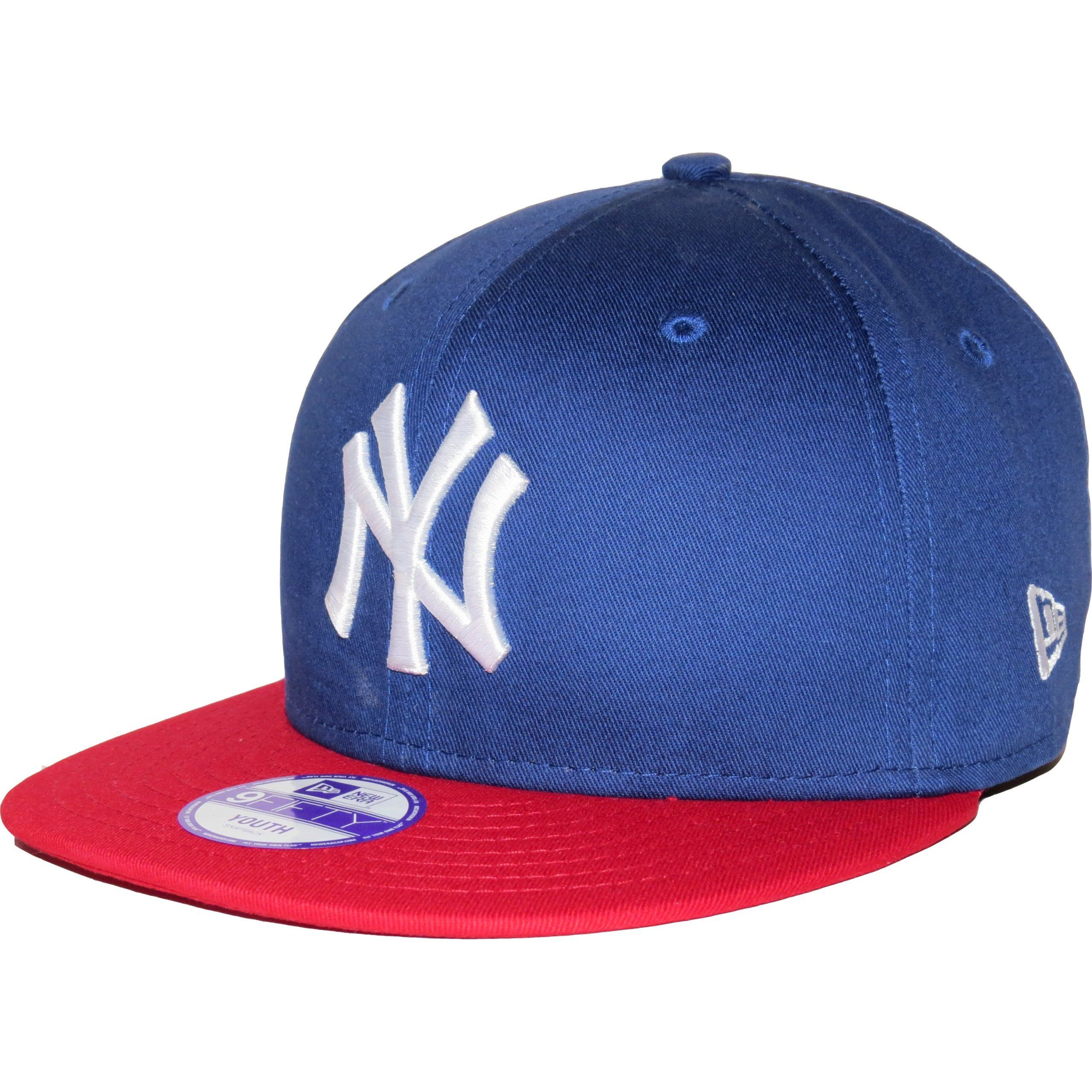 b48243e8eb5 New Era 9Fifty Kids Cotton Block NY Yankees Blue Red Snapback Cap   New Era