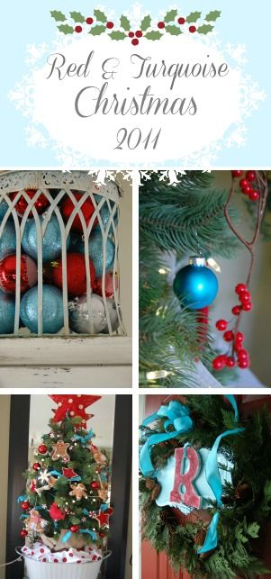 Red and Turquoise Aqua Christmas Decorating