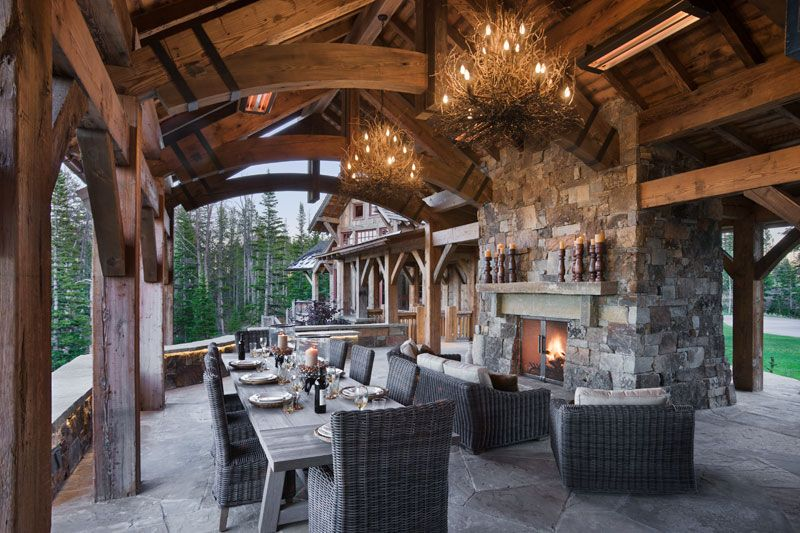 Yellowstone Club Summit Residence Outdoor Living By Locati Architects,  Photography By Roger Wade Studio, Big Sky, Montana.