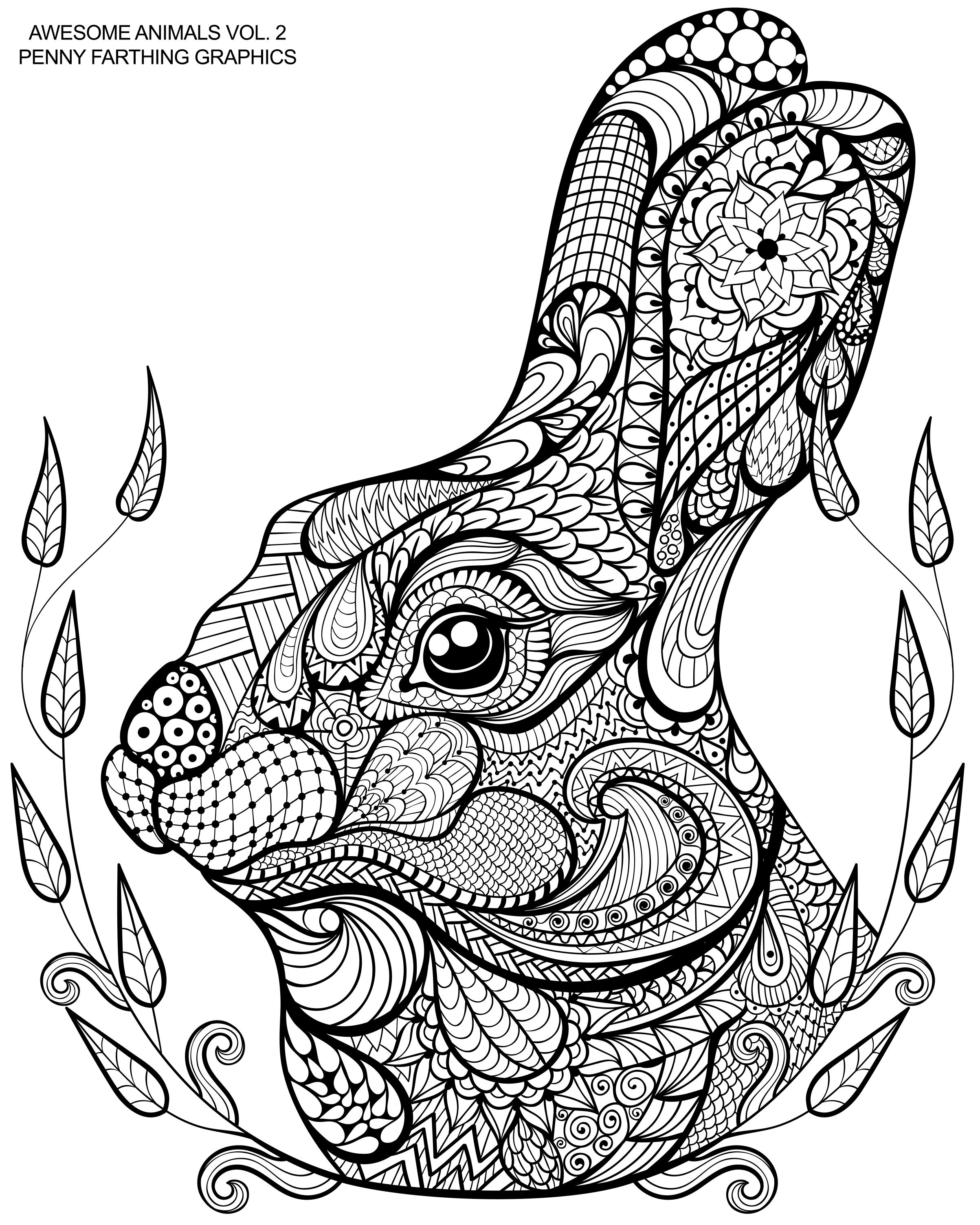 Cute Bunny From Awesome Animals Vol 2 Mandala Coloring Pages Animal Coloring Pages Dragon Coloring Page