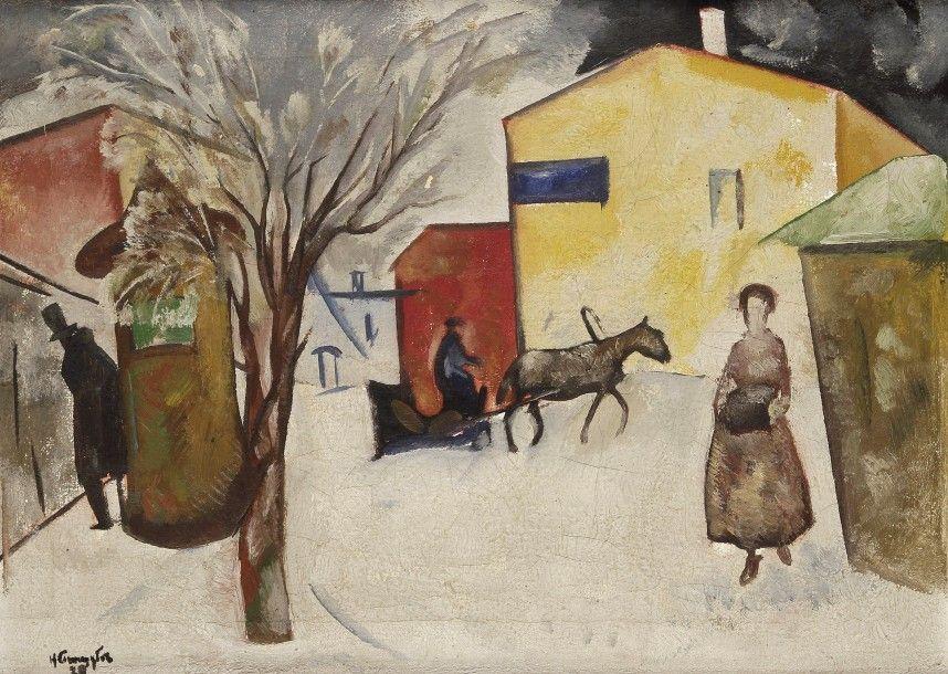 Nikolaï Vladimirovitch Sinezouboff (1891-1956), La Neige dans la ville, 1920, huile sur toile, 44 x 61,5 cm. Frais compris : 81 250 €. Lundi 22 juin, salle 6 - Drouot-Richelieu. Ader SVV. Mme Poniatowska.