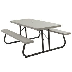 Awesome Lifetime Products 72 In L Putty Rectangle Picnic Table With Download Free Architecture Designs Terstmadebymaigaardcom