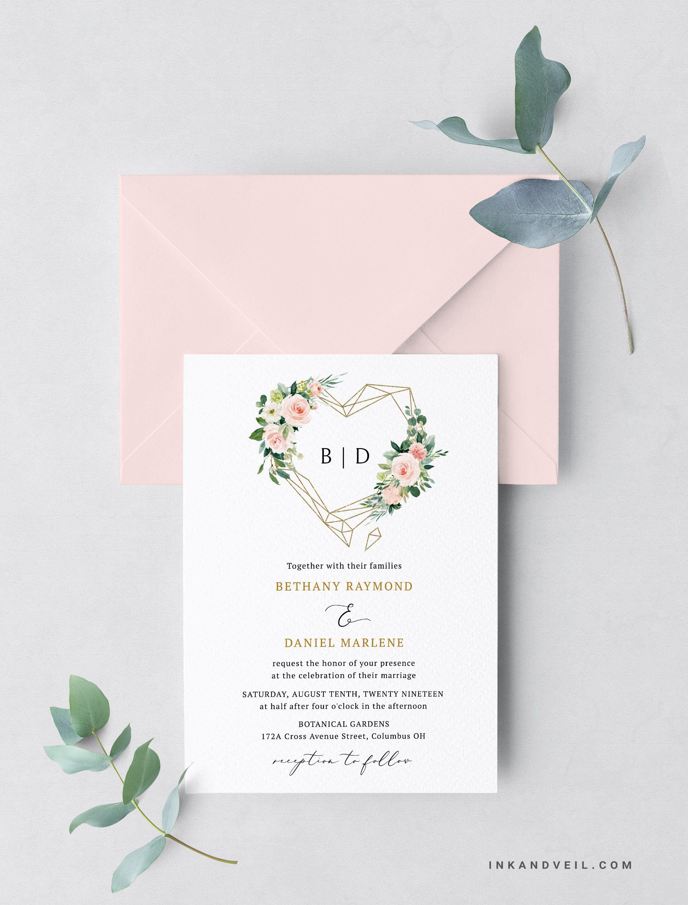 Wedding Invitation Template Blush Floral Wedding Invitat Diy