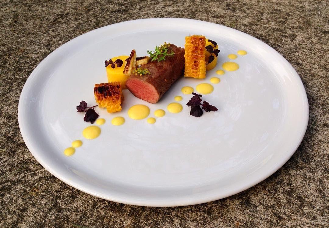 Lamb Loin, Textures of Sweetcorn - Purée, Charred & Polenta | Food, Lamb  loin, Polenta
