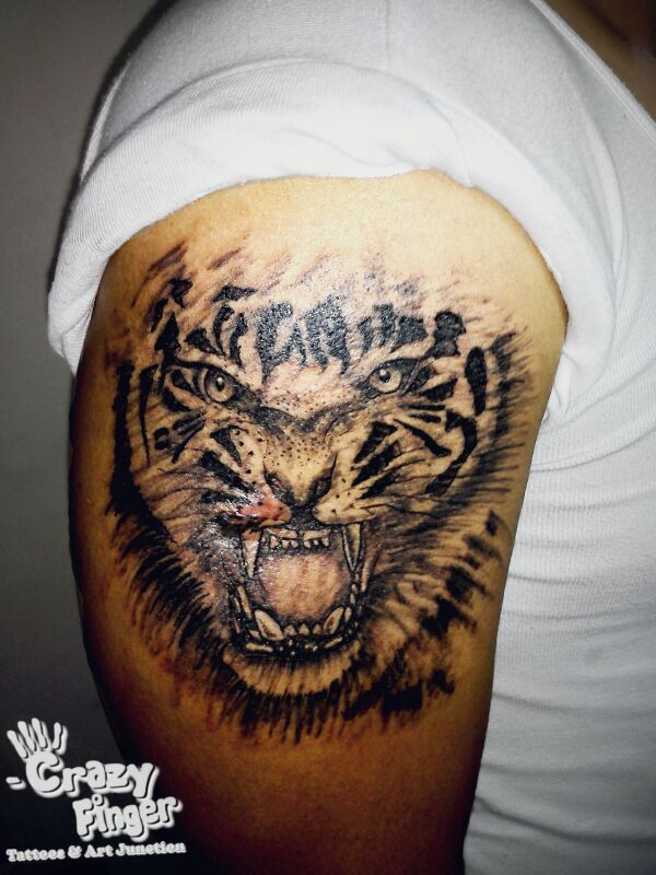 92fc6354e #tiger #tattoo. Find this Pin and more on Nilesh Crazy Finger tattoos by nilesh  sharma.