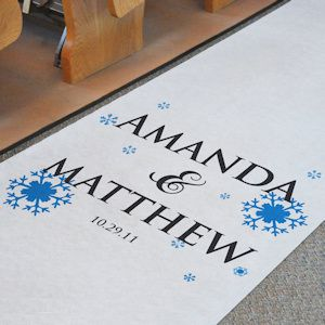 Winter Wedding Personalized Aisle Runner (2 Colors) from Wedding Favors Unlimited