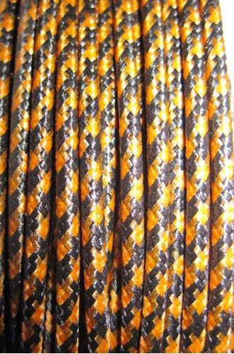 SILK BRAID COVERED VINTAGE 20 AWG HOOK UP WIRE ORANGE WITH BLACK TRACER STRIPE