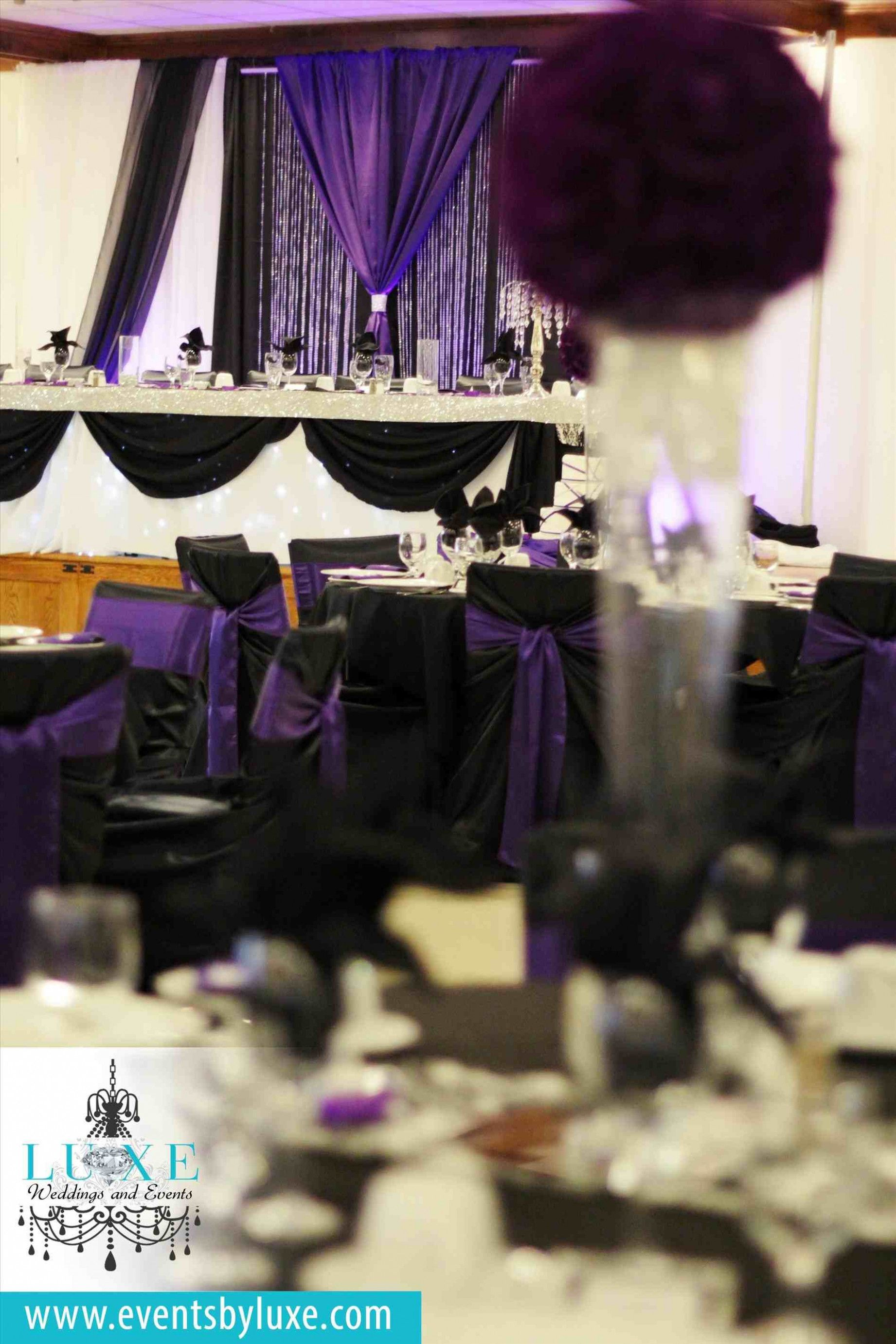 Wedding decorations simple  Bottles Flowers Purple And Black Wedding Centerpieces Silver Wine