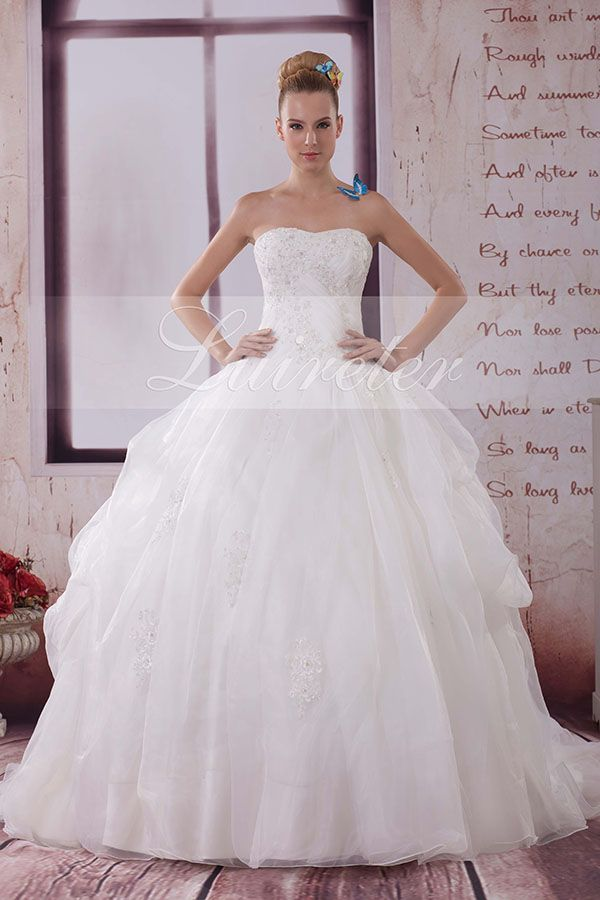 Elegant Ball Gown Floor Length Sweetheart White Organza Ruffles with Beading Wedding Dress