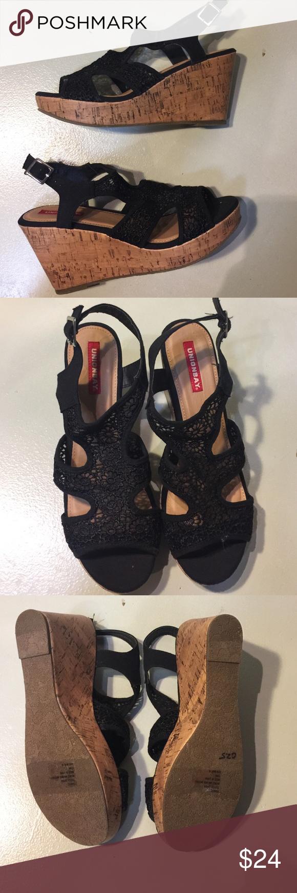 Unionbay Frantic Lace Wedge Platform Sandal