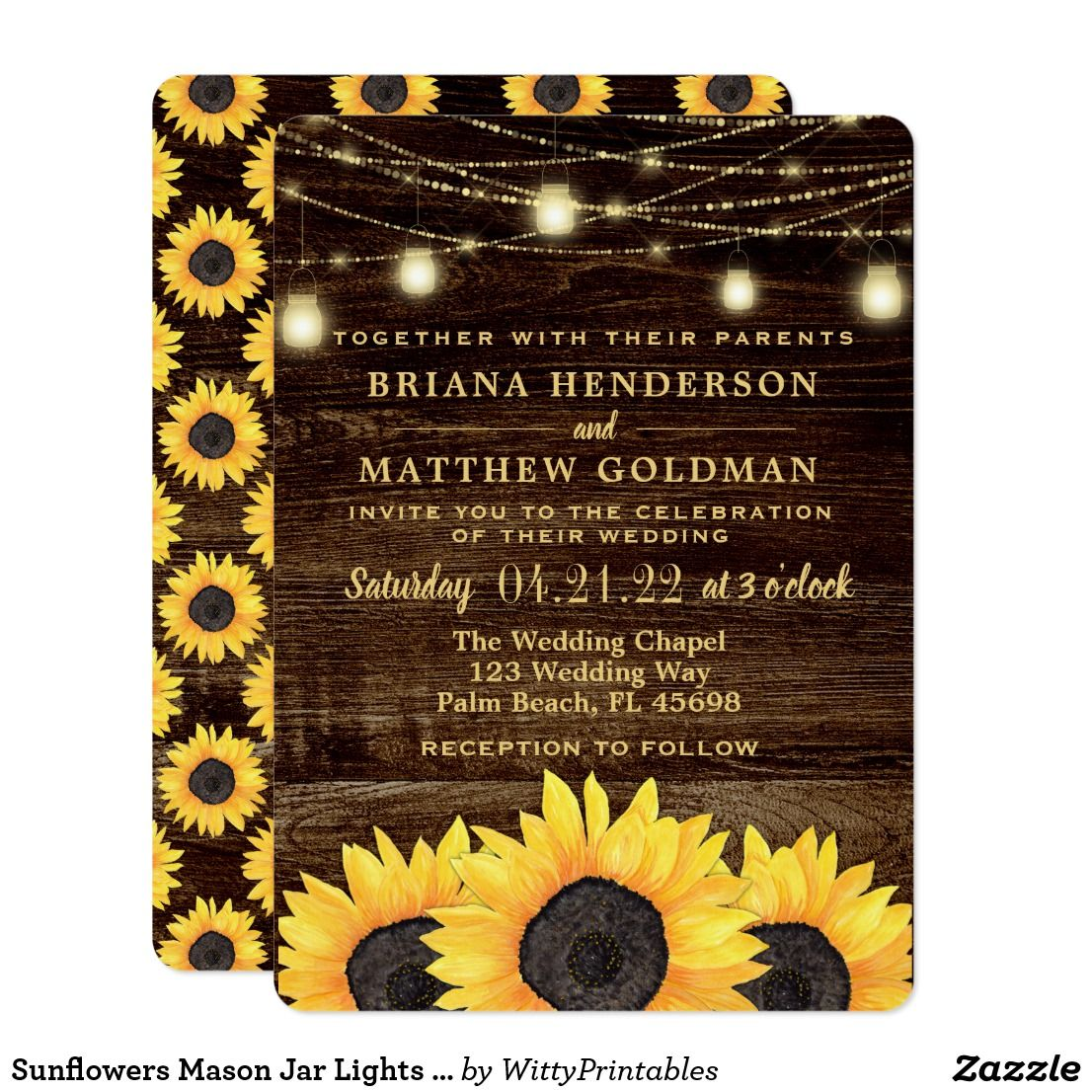 Sunflowers Mason Jar Lights Wedding Invitation Zazzle