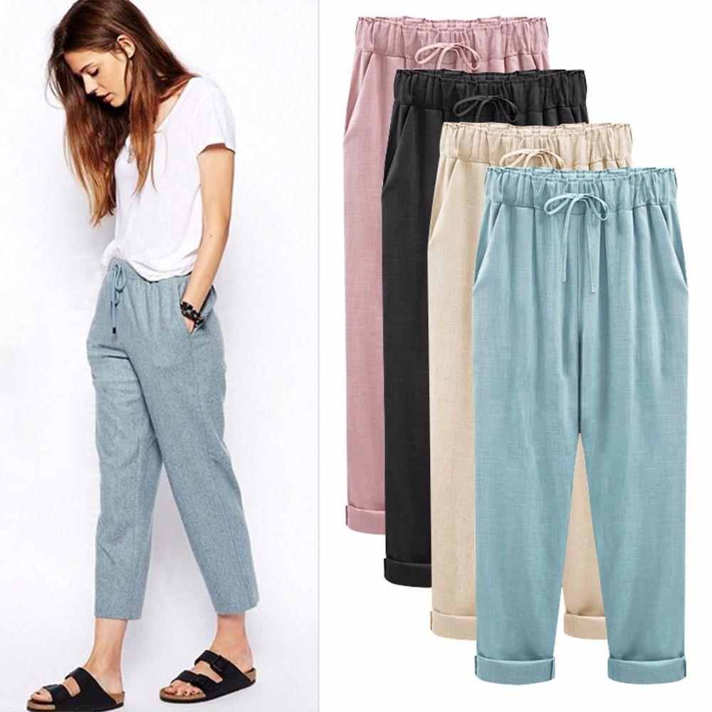 4e30b53702b Женские брюки осень новые женские хлопковые льняные брюки бриджи увеличить  размер жира свободные тонкий срез Лен Брюки купить на AliExpress