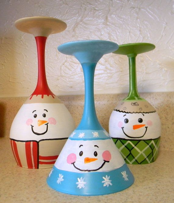 Christmas Decorations With Wine Glasses: Christmas Decor. Hand Painted Wine Glasses. Snowmen