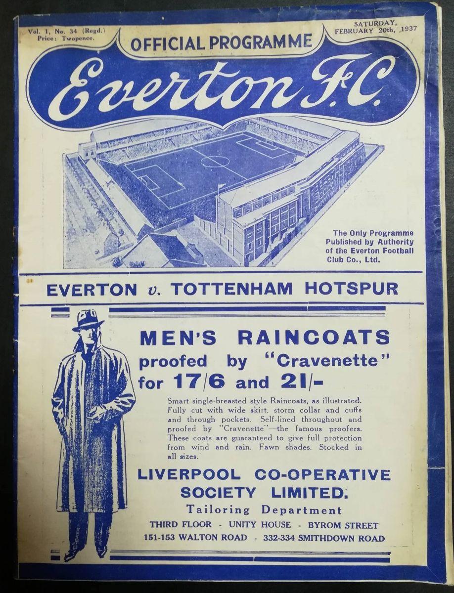 Everton vs Tottenham Hotspur FA Cup Feb 1937 programme   Everton, Tottenham,  Soccer tickets