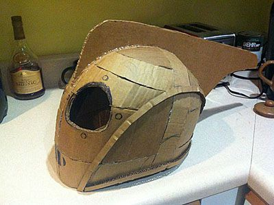 Wip rocketeer helmet sculpt and cast for Cardboard armour template