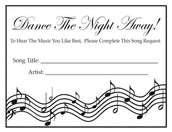 Wedding Party Song Request Cards BLACK By DelightfulTrifles 1500