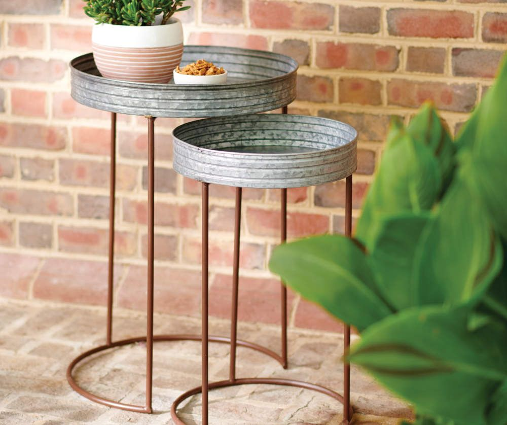 Broyhill 27 Galvanized Metal Nesting Table Big Lots In 2020 Metal Nesting Tables Nesting Tables Broyhill