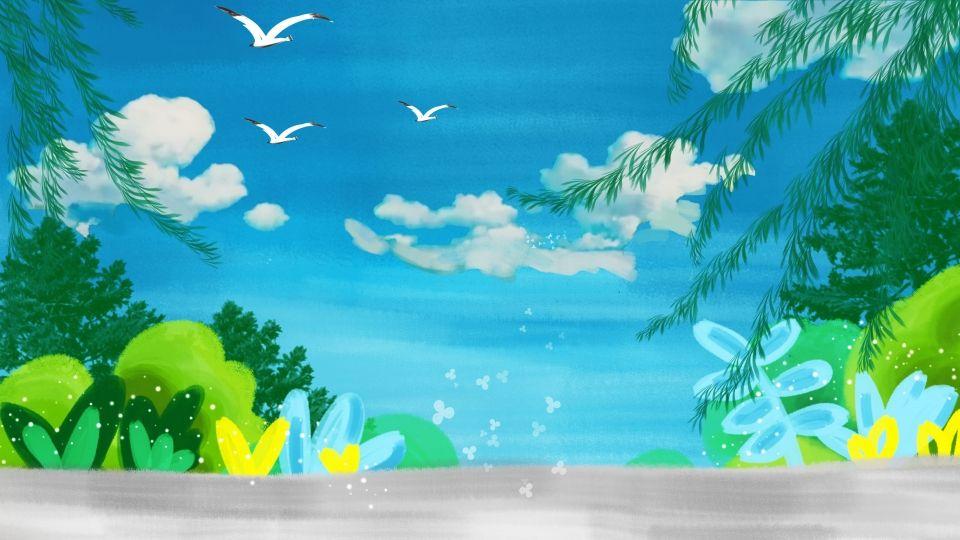 Ramas De Hojas Hierba Verde Cielo Azul Volando Aves Dibujos