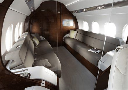 Dassault Falcon 5X - aft stateroom has clear, electrochromic window bulkheads that turn opaque at the push of a button