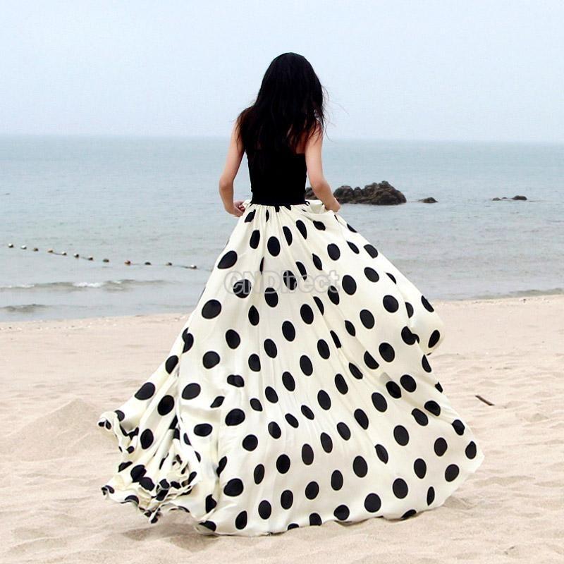 Black Floor-length Women's Skirt Maxi Dot Print Casual Long Summer ...