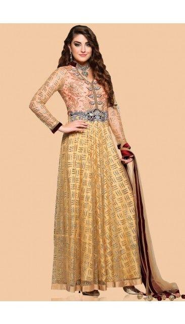 Beige Net Anarkali churidar Suit With Dupatta - 1713 | Churidar ...