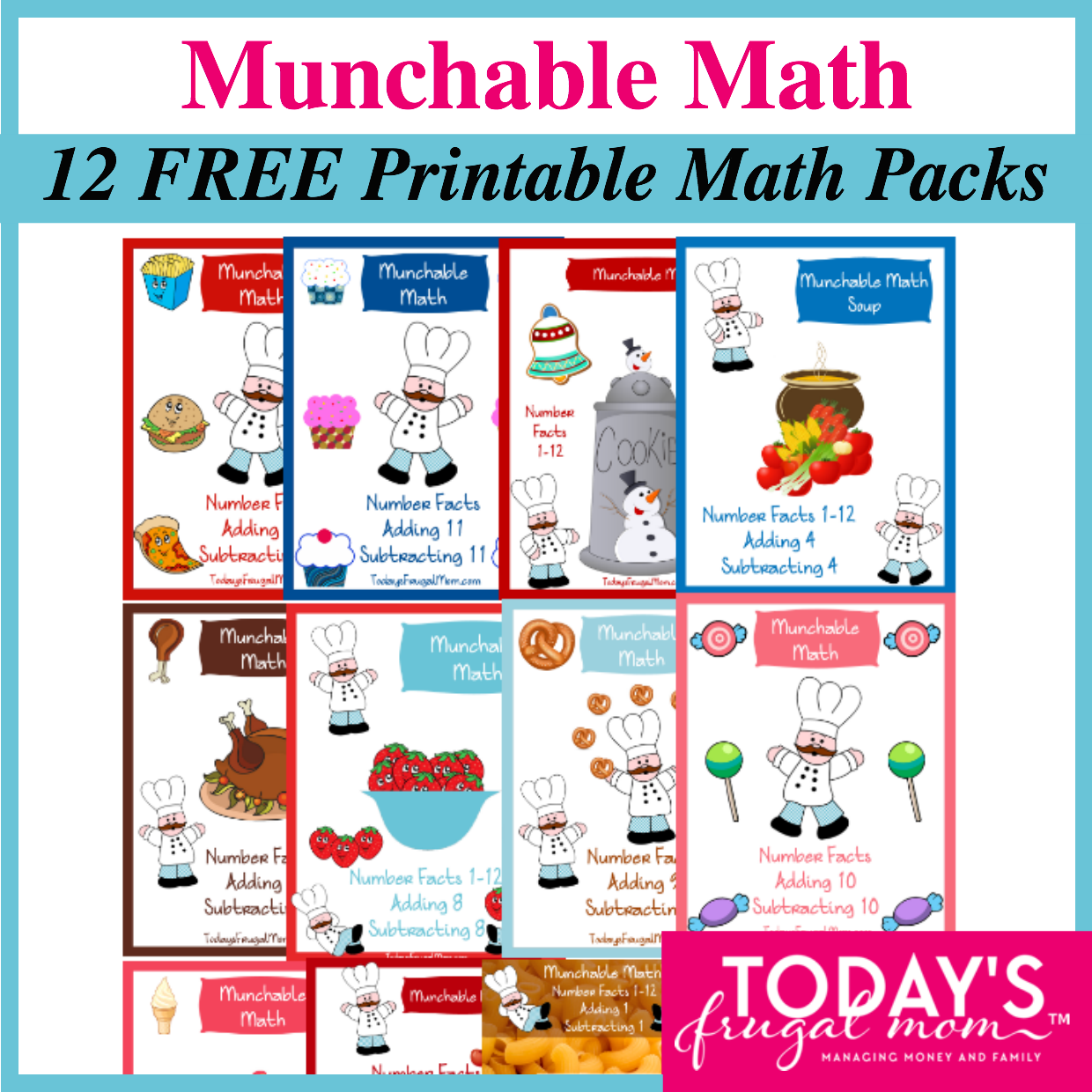 Munchable Math 12 Free Printable Math Worksheet Packs