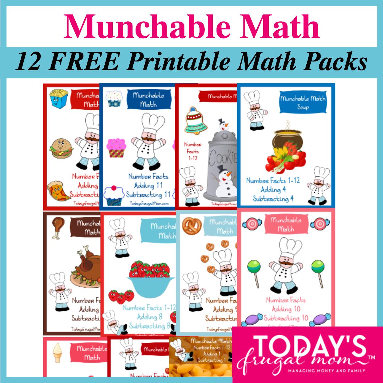 Munchable Math 12 Free Printable Math Worksheet Packs